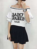 Women's Casual/Daily Sexy Blouse,Solid Letter Boat Neck Short Sleeves Cotton
