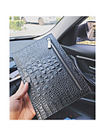 Men Checkbook Wallet PU Summer Fall Event/Party Office/Career Casual Rectangle Jacquard Zipper Black