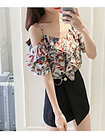 Women's Casual/Daily Simple Blouse,Print Strap Half Sleeves Cotton