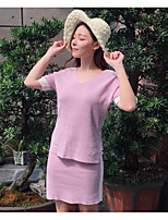 Women's Casual/Daily Simple Summer Shirt Skirt Suits,Solid Striped One Shoulder Short Sleeve