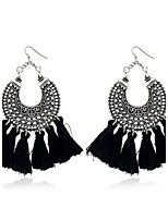 Lureme Women's Vintage Handmade Tassel Dangle Earrings Fan Shape Edge Jewelry
