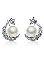 Women's Earrings Set Fashion Personalized Hypoallergenic Pearl Sterling Silver Zircon Jewelry ForWedding Gift Daily Casual Formal Office