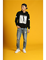 HEARTSOUL Men's Sports Running Holiday Going out Casual/Daily Simple Street chic Punk & Gothic Hoodie Letter Oversized Hooded Micro-elasticCotton