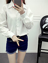 Women's Casual/Daily Work Simple Shirt,Solid Shirt Collar Long Sleeves Cotton