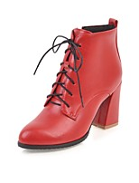 Women's Boots Fashion Boots Fall Winter Leatherette Casual Dress Lace-up Chunky Heel Red Yellow Black 3in-3 3/4in