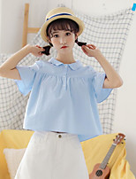 Women's Casual/Daily Simple Shirt,Solid Shirt Collar Short Sleeves Cotton