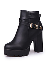 Women's Boots Comfort PU Fall Winter Casual Dress Buckle Chunky Heel Black 2in-2 3/4in