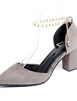 Women's Heels Light Soles PU Summer Dress Pearl Block Heel Blushing Pink Gray Black 2in-2 3/4in