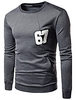 Men's Going out Casual/Daily Simple Sweatshirt Solid Round Neck Inelastic Cotton Long Sleeve Fall Winter