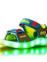 Boys' Sandals Light Up Shoes Synthetic Microfiber PU Summer Casual Dress LED Hook & Loop Flat Heel Light Blue Navy Blue Black Flat