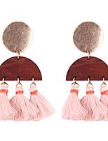 Fashion Women Semicircle  Fabric Tassel Wood Drop Earrings