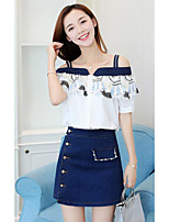 Women's Casual/Daily Simple Summer T-shirt Skirt Suits,Simple Boat Neck Short Sleeve