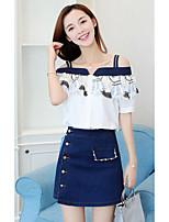Damen Einfache Einfach Lässig/Alltäglich T-Shirt-Ärmel Rock Anzüge,Bateau Sommer Kurzarm