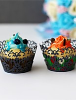 50pcs/lot Creative  Lace Laser Cut Cupcake Wrappers Liner Baking Cup Paper For Hallowen Wedding Birthday Tea Party Decoration