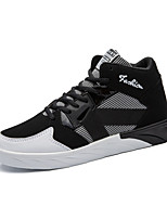 Men's Sneakers Comfort Fall Winter Fabric Leatherette Casual Outdoor Office & Career Split Joint Lace-up Flat Heel Black White Flat