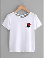 Tee-shirt Femme,Fleur Décontracté / Quotidien simple Manches Courtes Col Arrondi Coton
