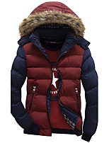 Men's Regular Padded Coat,Simple Going out Casual/Daily Color Block-Polyester Polyester Long Sleeves