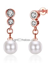 Lucky Doll Women's Drop Earrings Tassel Fashion Imitation Pearl Zircon Silver Plated Rose Gold Plated Alloy Jewelry ForGift Daily Casual Holiday