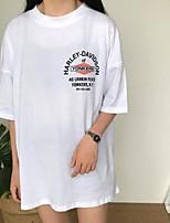Tee-shirt Femme,Couleur Pleine Lettre Décontracté / Quotidien simple Demi Manches Col Arrondi Coton