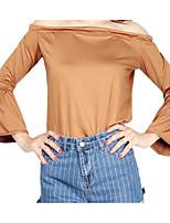 Tee-shirt Femme,Couleur Pleine Décontracté / Quotidien simple Manches 3/4 Bateau Polyester