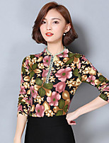 Women's Casual/Daily Simple Blouse,Floral Crew Neck 3/4 Length Sleeves Polyester