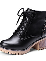 Women's Boots Bootie Fall Winter Leatherette Casual Dress Zipper Lace-up Chunky Heel Brown Gray Black 2in-2 3/4in