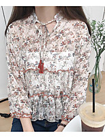 Women's Casual/Daily Simple Blouse,Solid Floral Round Neck Long Sleeves Linen