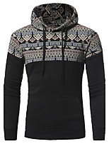 Men's Casual/Daily Simple Hoodie,Print Round Neck Micro-elastic Cotton Long Sleeve Fall