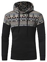 Sweatshirt Homme Décontracté / Quotidien simple Couleur Pleine Micro-élastique Coton Manches longues Automne Hiver