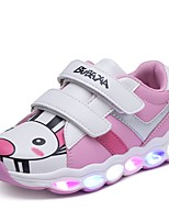 Girls' Athletic Shoes Light Up Shoes PVC Leather Tulle Fall Winter Athletic Casual Magic Tape Flat Heel Black/White Blushing Pink Green