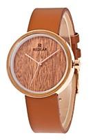 Women's Fashion Watch Wood Watch Japanese Quartz Wooden PU Band Charm Elegant Brown