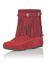 Women's Boots Fashion Boots Fall Winter Leatherette Casual Dress Tassel Flat Heel Red Brown Black Under 1in
