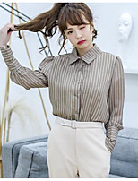 Women's Casual/Daily Simple Blouse,Striped Shirt Collar Long Sleeves Others