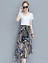 Women's Going out Casual/Daily Simple Summer T-shirt Skirt Suits,Print V Neck Short Sleeve