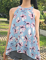 Women's Casual/Daily Simple Blouse,Print Crew Neck Sleeveless Polyester