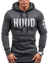 Men's Sports Casual/Daily Hoodie Solid Letter Hooded Micro-elastic Cotton Long Sleeve Spring Fall