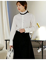 Women's Casual/Daily Simple Shirt,Solid Stand Long Sleeves Polyester Others