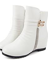 Для женщин Ботинки Модная обувь Осень Зима Полиуретан Повседневные Для праздника Молнии На танкетке Белый Черный 4,5 - 7 см