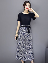 Women's Casual/Daily Simple Summer T-shirt Pant Suits,Floral Leaf Round Neck Short Sleeve