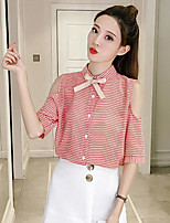 Women's Casual/Daily Simple Shirt,Solid Striped Shirt Collar Half Sleeves Cotton Polyester