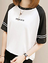 Women's Casual/Daily Simple Summer T-shirt,Color Block Round Neck Short Sleeves Cotton Medium