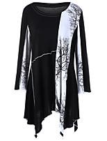 Damen Druck Einfach Ausgehen T-shirt,Rundhalsausschnitt Langarm Baumwolle