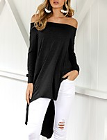 Women's Going out Casual/Daily Sexy Simple Street chic Irregular Spring Fall T-shirtSolid Boat Neck Long Sleeves Off Shoulder Backless Split Medium