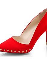 Damen High Heels Pumps Sommer Kaschmir Kleid Niete Stöckelabsatz Schwarz Rot 7,5 - 9,5 cm