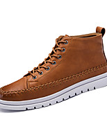 Men's Sneakers Comfort Fall Winter Leather Casual Outdoor Lace-up Flat Heel Yellow Gray Black Flat