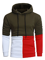 Men's Sports Casual/Daily Simple Hoodie Color Block Patchwork Hooded Micro-elastic Acrylic Long Sleeve Fall Winter