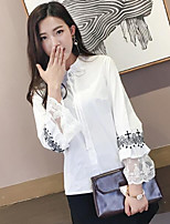Women's Casual/Daily Simple Blouse,Solid Print Round Neck 3/4 Length Sleeves Cotton