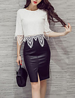 Women's Going out Casual/Daily Boho Fall Winter Blouse Skirt Suits,Solid Round Neck Long Sleeve Lace Inelastic