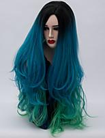 abordables -Perruque Synthétique Cheveux Synthétiques Perruque Long Sans bonnet Vert