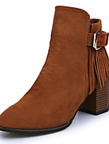 Women's Boots Light Soles Fall Winter PU Casual Dress Zipper Block Heel Camel Light Grey Black 2in-2 3/4in